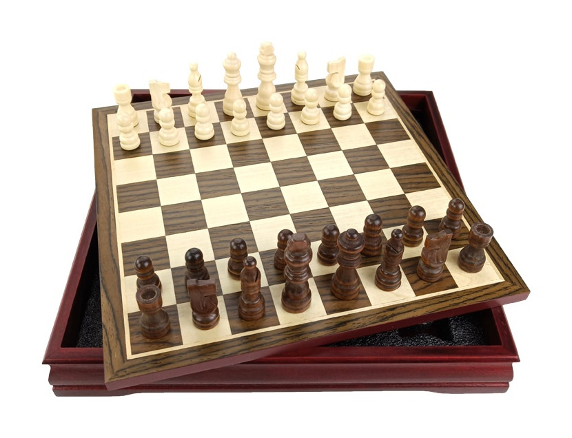 Wooden Coffee Table Chess Set